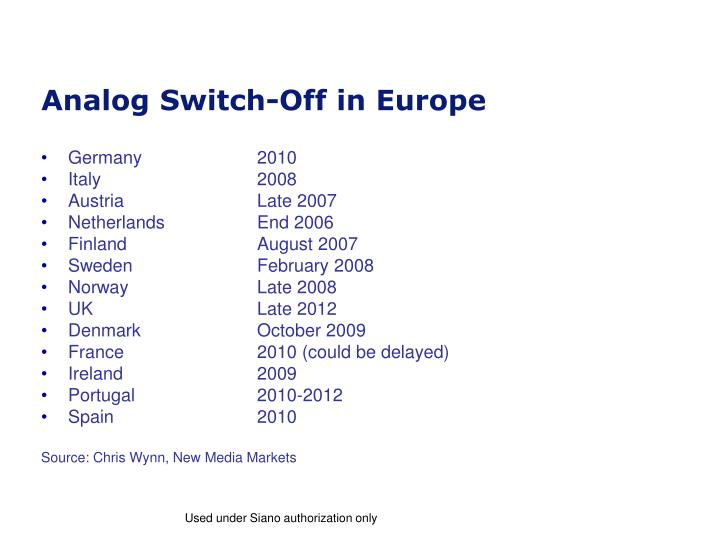 Analog switch off in europe