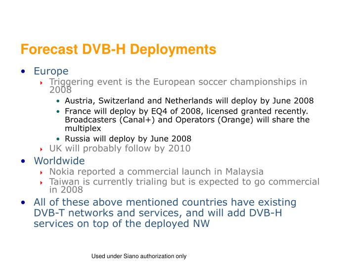 Forecast DVB-H Deployments
