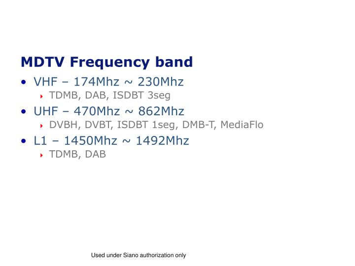 MDTV Frequency band