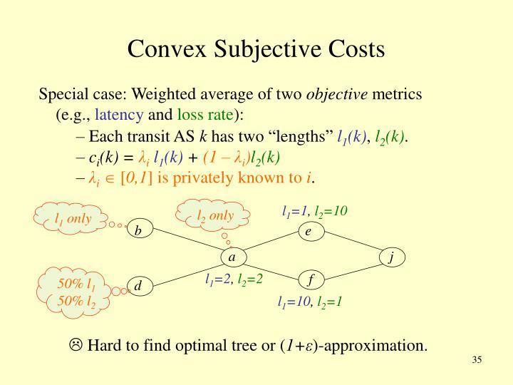 Convex Subjective Costs