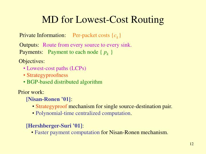 MD for Lowest-Cost Routing