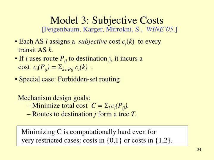 Model 3: Subjective Costs