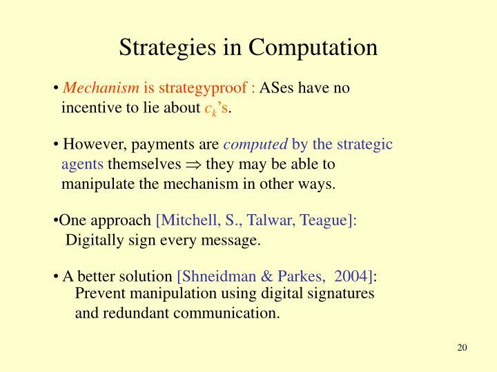 Strategies in Computation