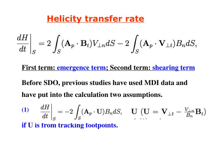 Helicity transfer rate