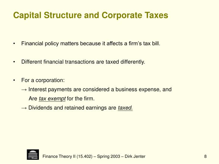 Capital Structure and Corporate Taxes
