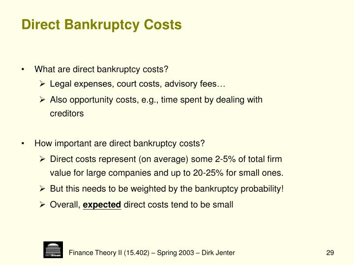 Direct Bankruptcy Costs
