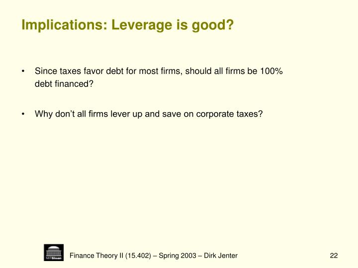 Implications: Leverage is good?