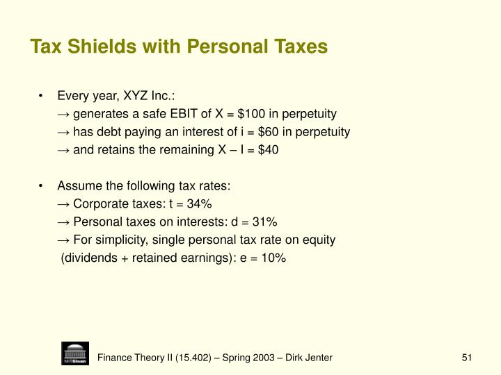 Tax Shields with Personal Taxes
