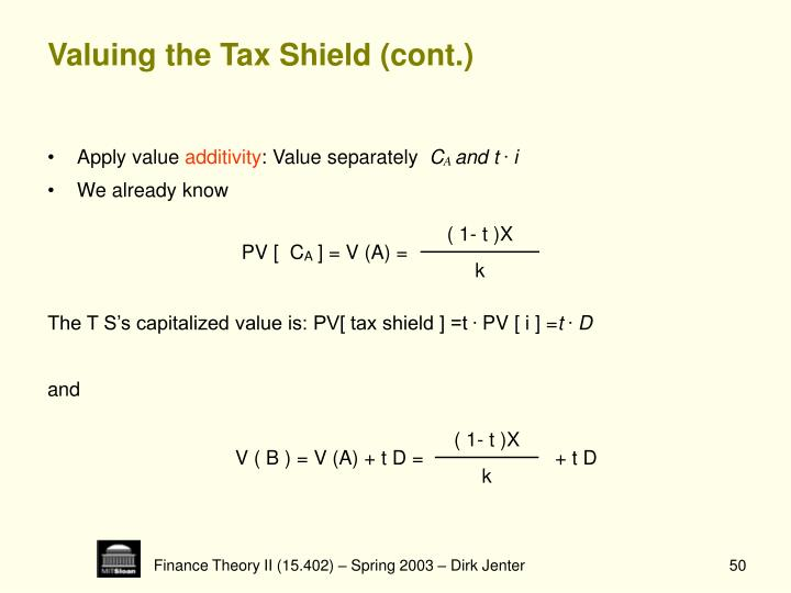 Valuing the Tax Shield (cont.)