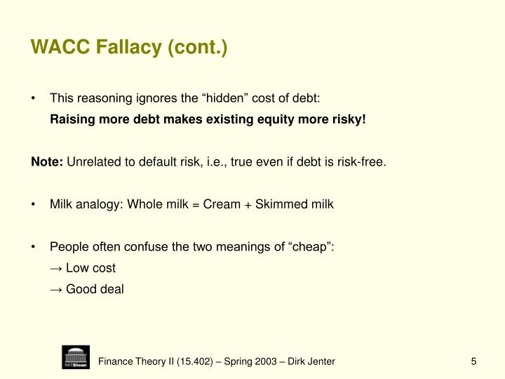WACC Fallacy (cont.)