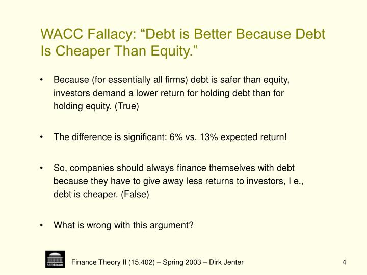 """WACC Fallacy: """"Debt is Better Because Debt"""