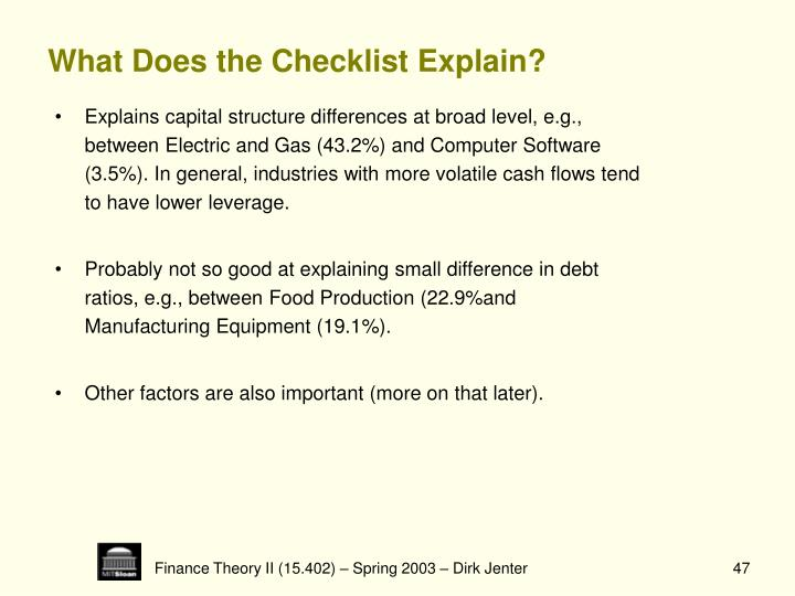 What Does the Checklist Explain?