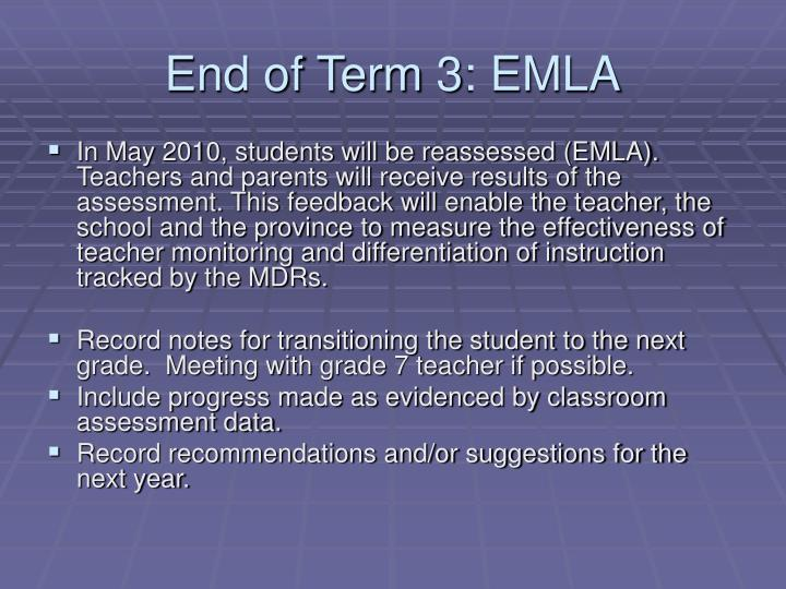End of Term 3: EMLA