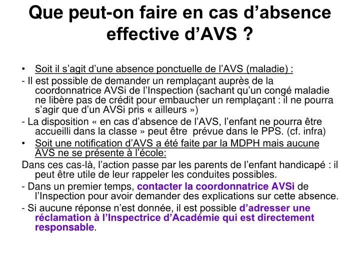 Que peut-on faire en cas d'absence effective d'AVS ?