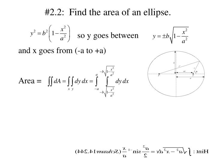 #2.2:  Find the area of an ellipse.