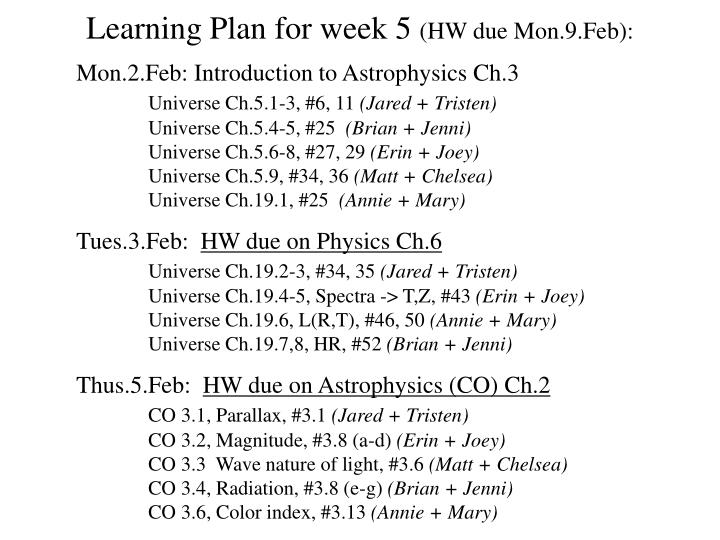 Learning Plan for week 5
