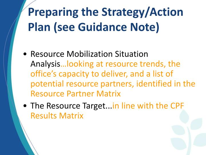 Preparing the Strategy/Action Plan (see Guidance Note)