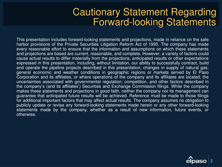 Cautionary statement regarding forward looking statements