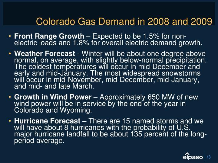 Colorado Gas Demand in 2008 and 2009