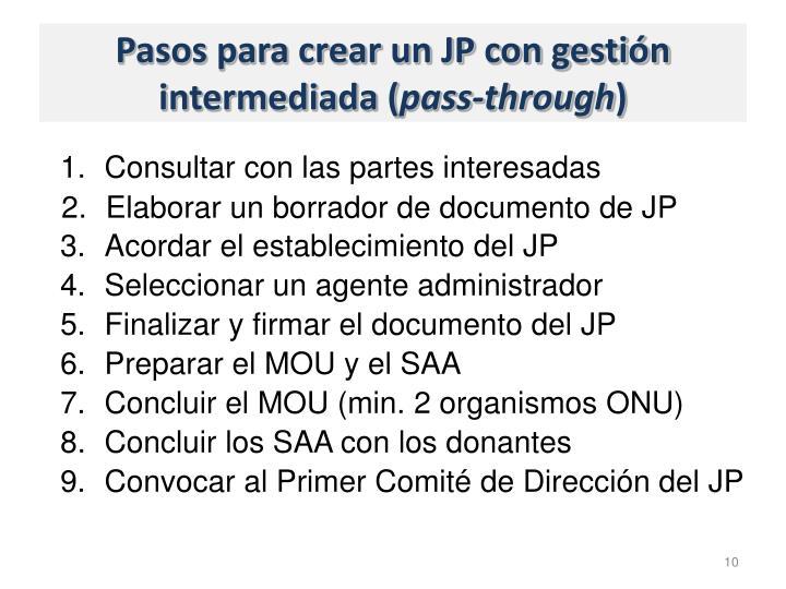 Pasos para crear un JP con gestión intermediada (