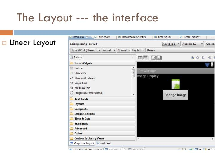 The Layout --- the interface