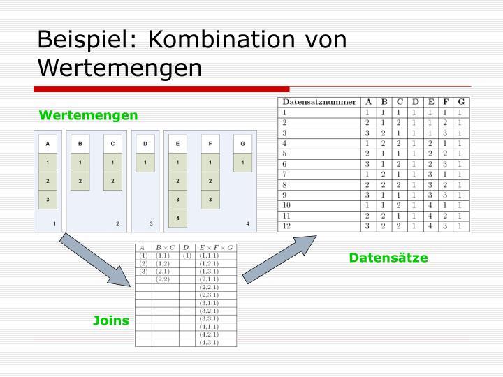 Beispiel: Kombination von Wertemengen