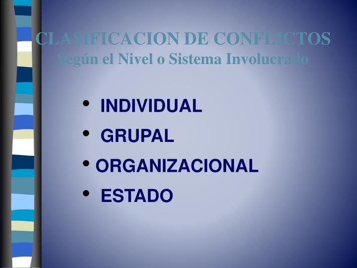 CLASIFICACION DE CONFLICTOS