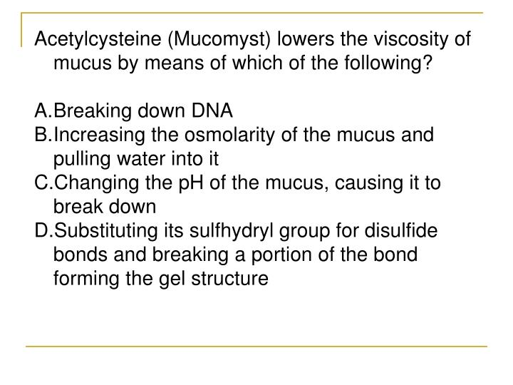 Acetylcysteine (Mucomyst) lowers the viscosity of mucus by means of which of the following?