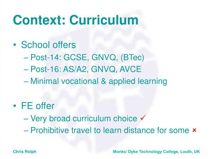 Context: Curriculum