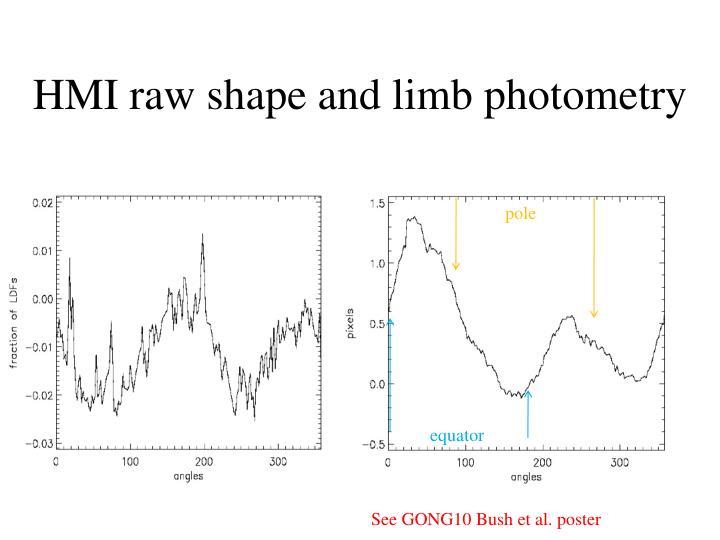 HMI raw shape and limb photometry