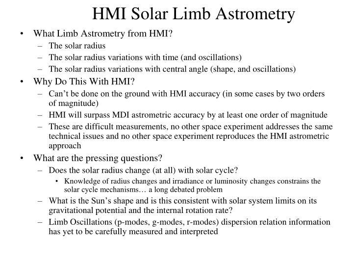 HMI Solar Limb Astrometry