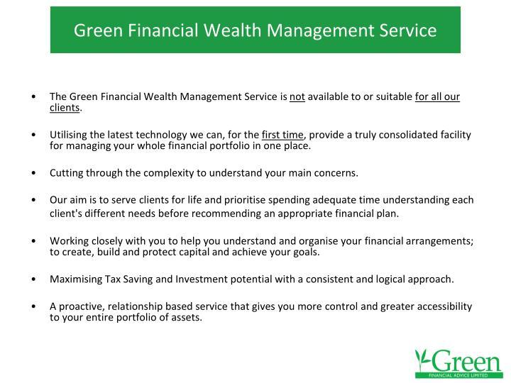 Green Financial Wealth Management Service
