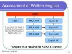assessment of written english