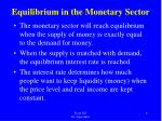 equilibrium in the monetary sector