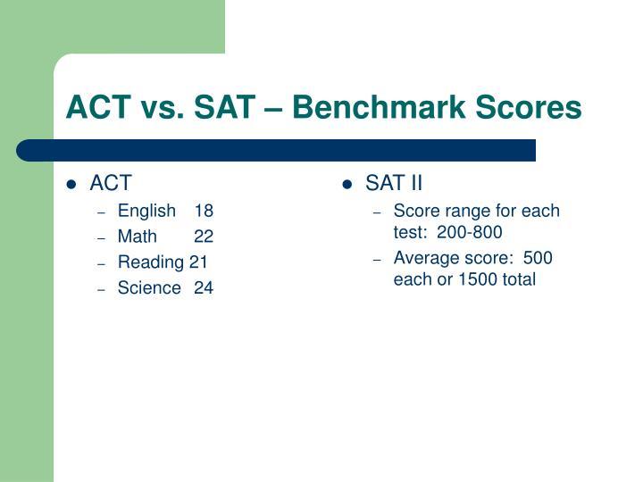 Act vs sat benchmark scores