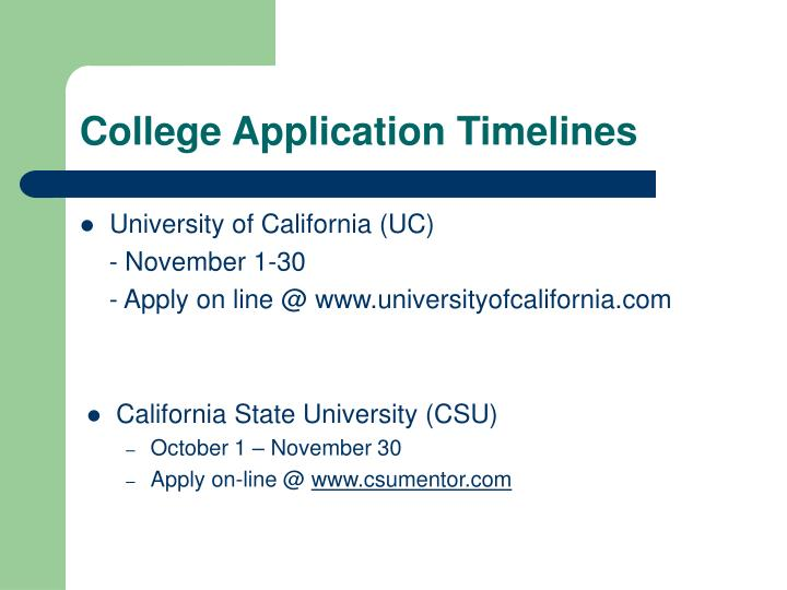 College Application Timelines