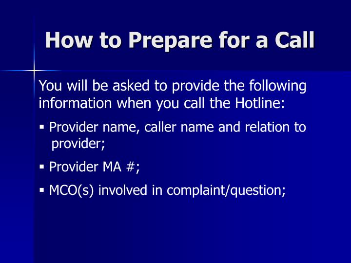 How to Prepare for a Call