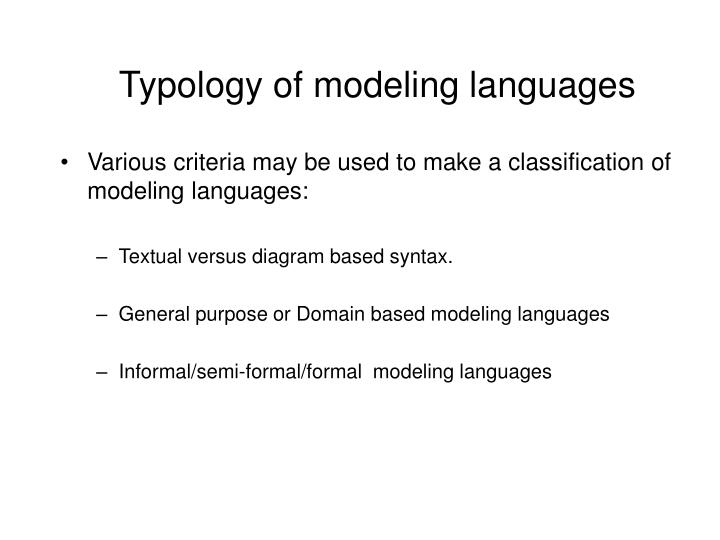 Typology of modeling languages