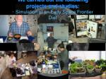 we carried out the following projects and studies simulation of an early space frontier diet