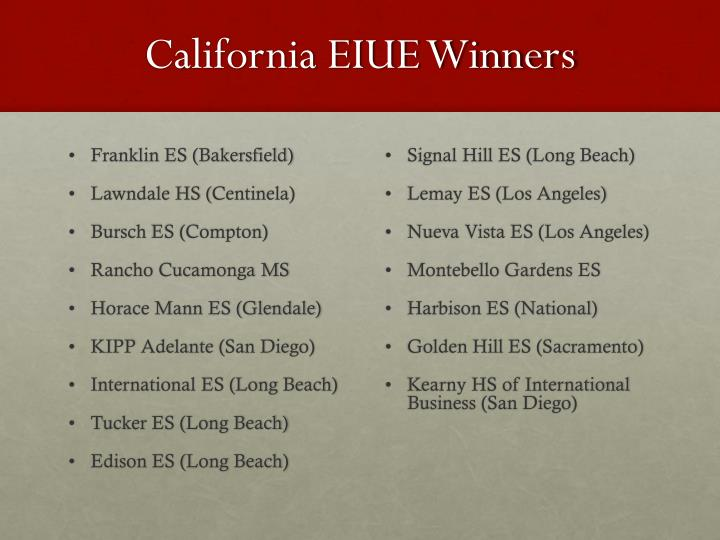 California EIUE Winners