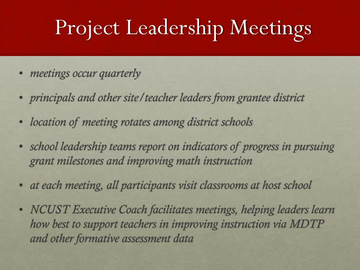 Project Leadership Meetings