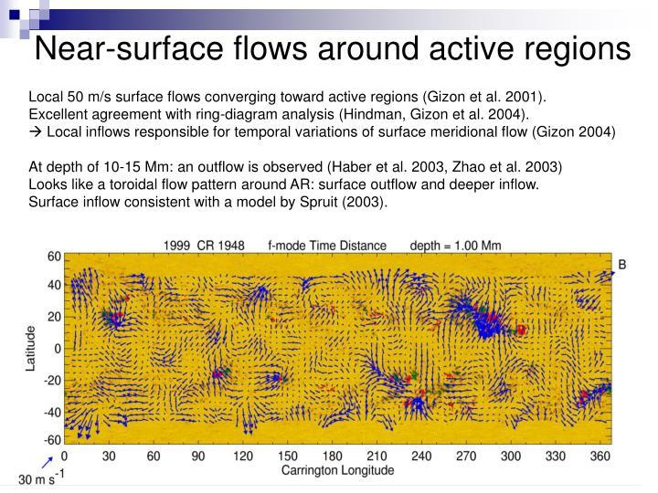 Near-surface flows around active regions