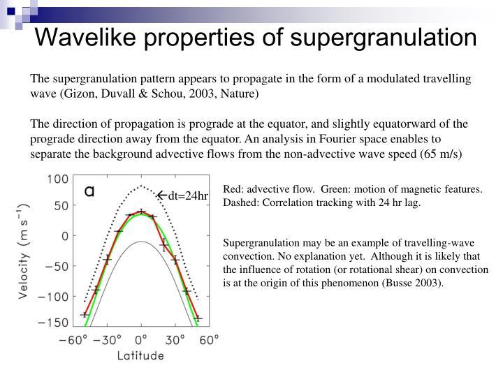 Wavelike properties of supergranulation