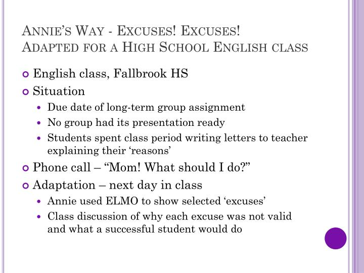 Annie's Way - Excuses! Excuses!