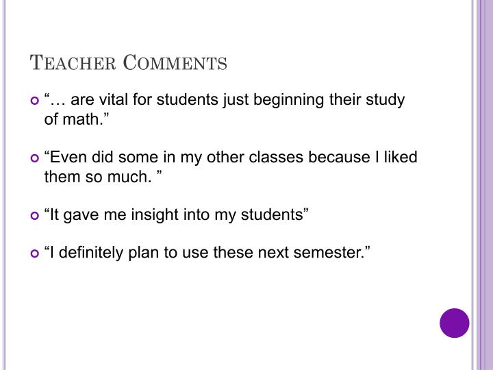Teacher Comments