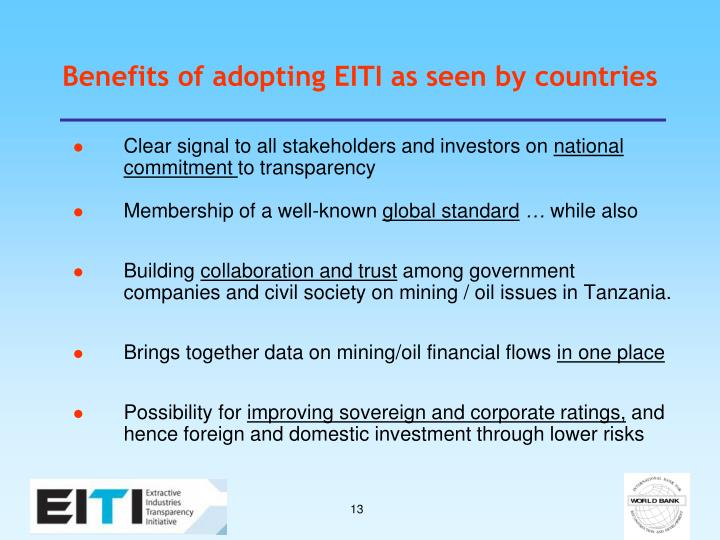 Benefits of adopting EITI as seen by countries