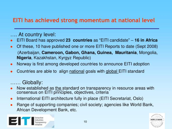 EITI has achieved strong momentum at national level