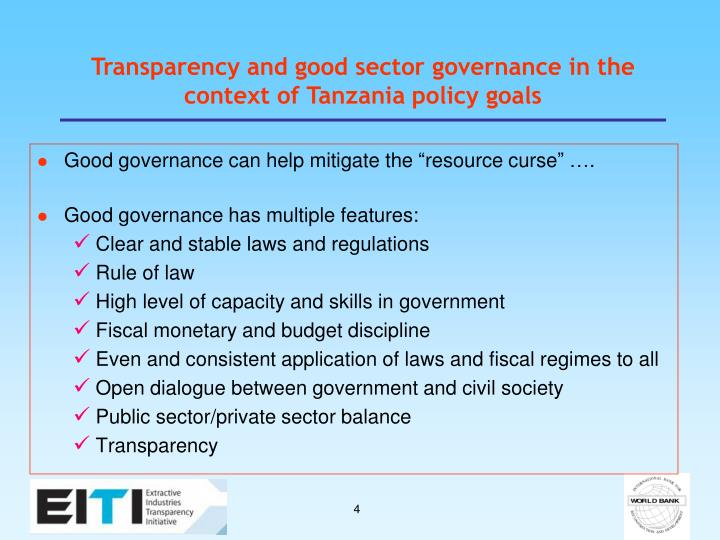 Transparency and good sector governance in the context of Tanzania policy goals