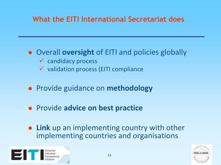 What the EITI International Secretariat does
