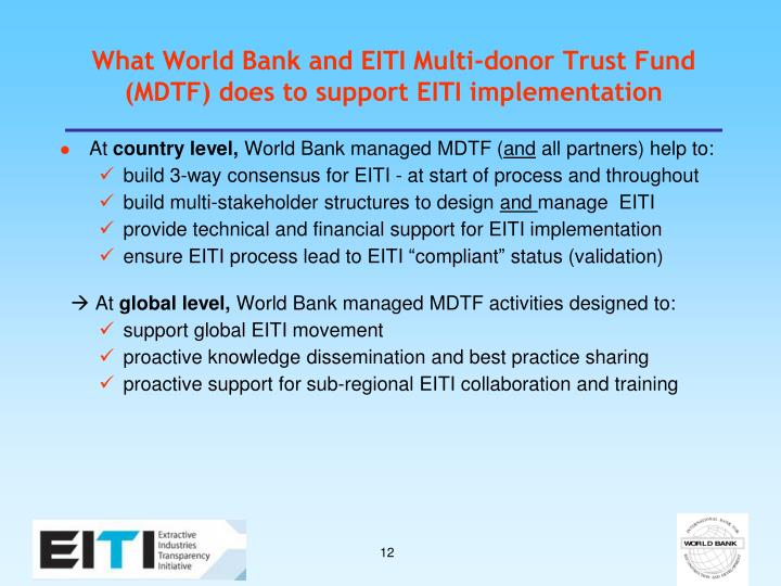 What World Bank and EITI Multi-donor Trust Fund (MDTF) does to support EITI implementation